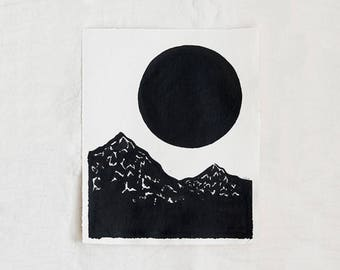 Mountains & Moon Original Ink Painting By Britt Fabello