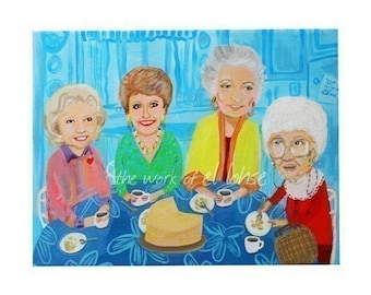 Ode to Rose, Blanche, Dorothy, Sophia and the Cheesecake ... Thank You For Being a Friend ... limited edition 17x22 inch print