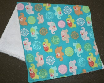 Handmade Burp Cloth 1 Only Double side Toweling On the Back (Baby Elephants ) Print