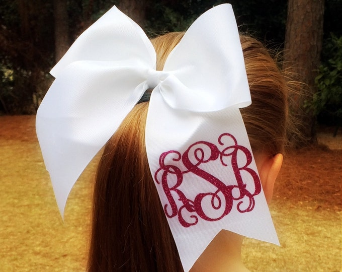 Hair bows, Glitter Monogram Cheer Bow, Monogrammed Hair Bow, Cheer Bow, Monogrammed Gifts, Team Discounts, Cheer Team Bows