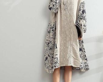 Loose Oversize Dress/ Linen large size asymmetrical dress