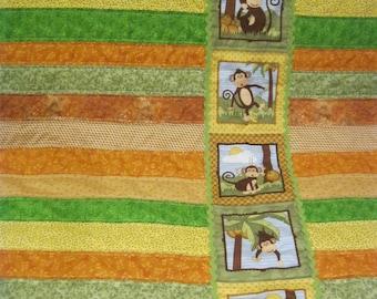 MONKEY QUILT - Toddler Quilt - Strip Quilt - Baby Quilt