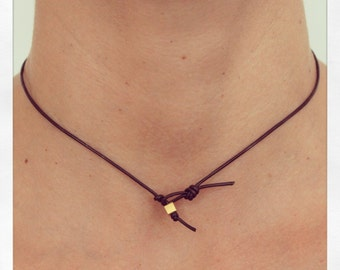 Necklace Simple 01 Gold Leather Handmade - Brown (N401GD-LBN)
