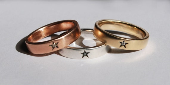 Little Star Rings -10 k Yellow, White or Rose Gold with Black, White or Champagne Diamond