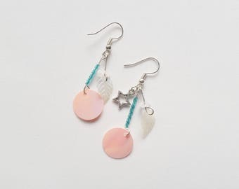 Irridescent shiny pink disc and moonstone bohemian dangle earrings, ready to ship Australian seller