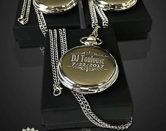 Groomsman gift -3 Laser engraved pocket watches -Personalized watch in gift box - Bridesmaid gift -Wedding gift-Personalized gift