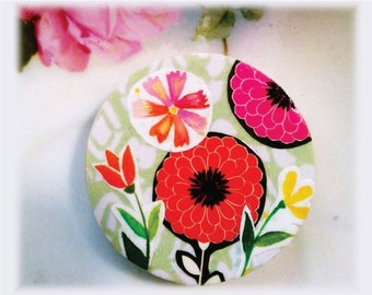 Magnet, Paper, Art, Flower, Garden, Painting, Collage, Decoupage, Modern, Graphic, Illustration, Pink, Red, Yellow, Green, White, Black