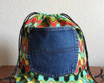 Handcrafted Bright Wavy Print Drawstring Backpack - Assorted Styles