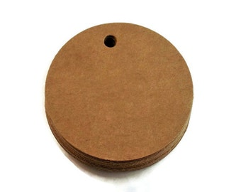 Two Inch Circles Die Cut Tags Price Tags 2 inch Circles in Kraft  Quantity 50