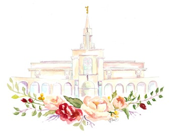 LDS Temple Watercolor (Bountiful), Bountiful Temple