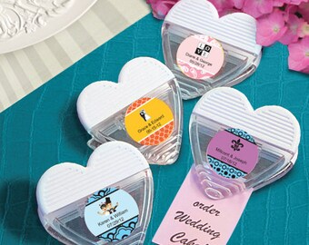 36 Personalized Heart Shaped Memo Clips Baby Shower Bridal Shower Wedding Favors