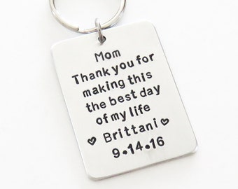 Signed Mother of the bride gift - Bride's gift to Mom on wedding day - Father of the bride gift - Handmade keychain keyring