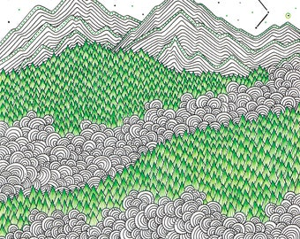 Mountain print landscape art ink drawing, doodle art scandinavian print nature illustration graphic art print hand drawn art modern print