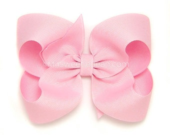 Rose Pink Hair Bow, Rose Pink Boutique Bow, 4 inch Hairbow, Big Grosgrain Bow, Baby, Toddler Hair Bow, Girls Hairbows Pale Pink