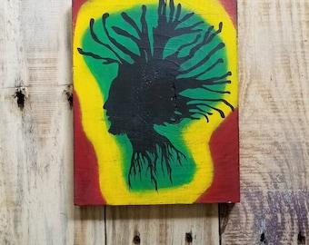 Bob Marley sign, One Love wall sign, Rastafarian painting, Reggae art, Jamaican Pride, Dreadlock Soldier, Jamaican Reggae Icon, The Wailers