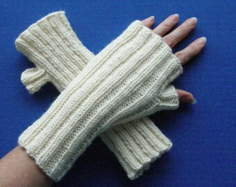White - Cream Fingerless Gloves - Wristwarmers - Fashion Gloves - Gift Idea - Acrylic Wool Blend