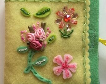 Roses Needlebook.  Embroidered Needlebook. Beaded Needlebook. Vintage inspired. Needle Minder Handcrafted Needlecase. Felt Needlebook.