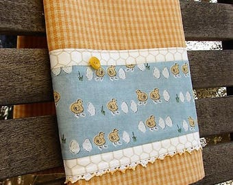 Farmers Market Towel Baby Chicks Towel Easter Chicks Towel Gold Gingham Check Towel Farm Style Towel Spring Kitchen Decor Ready to Ship