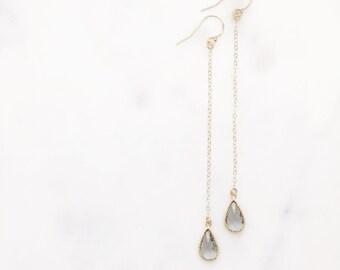 JEN   Long Gold Chain Earrings   Long Dangle Earrings   Long Dangle Crystal Earrings   Long Gold Chain Earrings   Bridesmaid Earrings