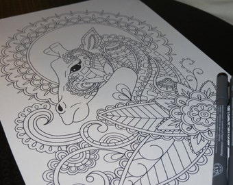 Adult Colouring Page, Paisley Giraffe