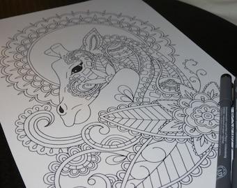 Page à colorier adulte, Paisley girafe