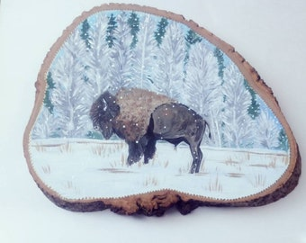 Bison, winter,snow, rustic, miniature painting