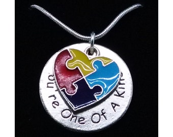 Autism Awareness Necklace, Autism Jewelry, Puzzle Piece Jewelry, Autism Mom, Awareness Gift, Teacher Gift, Valentine's Day Gift
