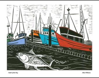 Posters and Cards, Fishing Boats, Big Fish, Fishing Fleet, Boat Harbor, Colorful Fishing Fleet, Fishing Dock  SKU#102