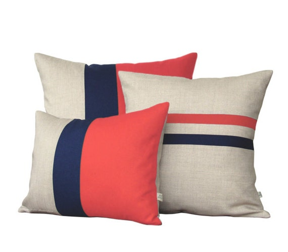 Colorblock Stripe Pillow Set Coral & Navy Striped Pillow And