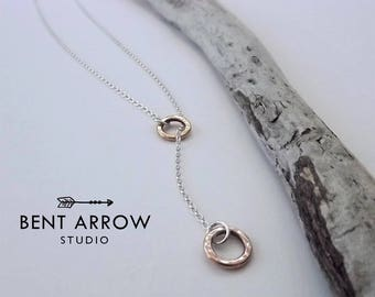 Bronze circle lariat necklace, bronze and sterling silver necklace, bronze loops, circles, lariat, hoop, organic, artisan, round,mixed metal