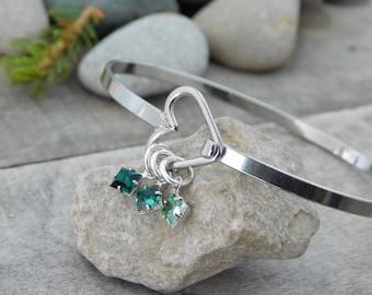 Heart Bangle Bracelet - Valentine's Day Gift For Her - Mom Bracelet - Square Birthstones - Stackable Bangle - Stainless Steel - Free Ship