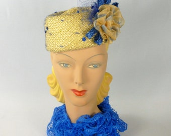 Yellow & Blue Pillbox Hat - Hand Blocked and Sewn from Vintage Straw Hood-Ribbon Flower - Veiling - Straw Accents - Church - Wedding