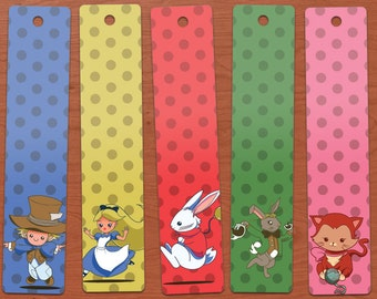 Alice in Wonderland Cute Mad Tea Party Printable Bookmarks