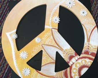 Mehndi Mandala Inspired Wooden Peace Sign, Wall Decor