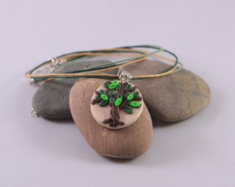 Green tree Polymer clay necklace, polymer clay necklace, art necklace, handmade necklace, clay necklace, polymer clay jewelry