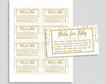 Baby Shower Book Request, White & Gold Glitter Confetti Invite Insert, Neutral Books for Baby, DIY Printable, INSTANT DOWNLOAD