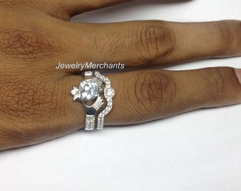 Engagement Ring with Band Set Irish Claddagh Ring Set 2.65 Ct Heart Solid 925 Sterling Silver 14K White Gold Plated Bridal Wedding Ring Set
