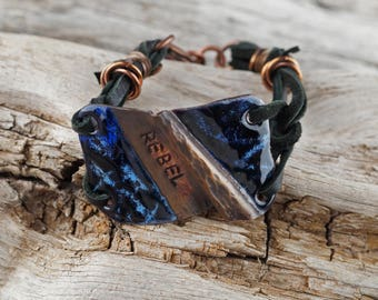 Enameled Copper Bracelet, Rebel bracelet, rebel jewelry, rebel, rebel copper jewelry, rebel copper bracelet, OOAK rebel jewelry, OOAK rebel