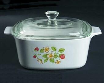Pyrex Strawberry Sundae casserole by Corning 1.5 quart with lid. Very rare!