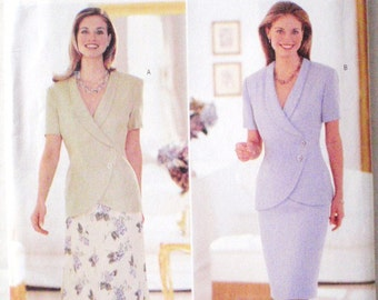 Asymmetrical Top and Lined A-Line or Straight Skirt Pattern - David Warren for Butterick 5998 - Sizes 8-10-12, Bust 31 1/2 - 34, Uncut