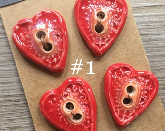 Bright Red Heart Buttons - Handmade Ceramic Button Lot of 4 - Really Red Bead Focal - Heart Buttons - Button Focal Button Jewelry - Sewing
