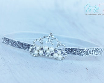 Gorgeous Vintage  Silver Princess Tiara Crown Baby Girl Childs Headband