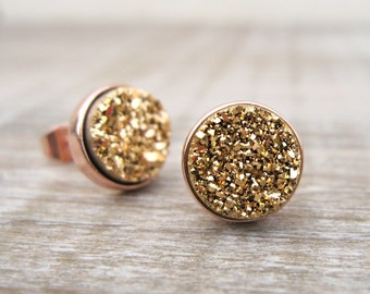 Mixed metal earrings, rose gold and gold druzy studs, bridesmaids gift, great gatsby jewelry, bridesmaid jewelry, raw stone earrings, uk