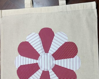 Up-cycled Red and White Flower Petal 38cm x 41 cm Tote Bag