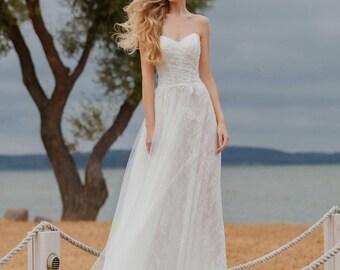 Ivory lace dress boho wedding dress lace beach bohemian wedding dress rustic wedding lace dress long lace bridal long wedding backless 2018