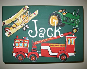 Hand painted,transport theme,stepstool,green,bench,personalized,kids stool,fire truckchildrens stepstools,vehicle room decor,helicopters