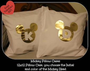 Two Mickey Head Pillow Cases