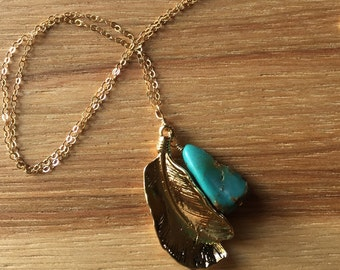 Layering Necklace of Turquoise and Gold Leaf