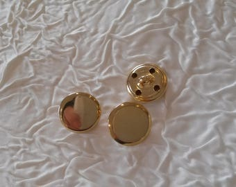 65 buttons vintage haute couture metal gold. 16 mm.