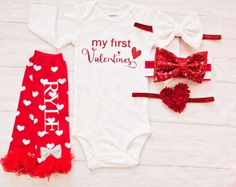 Girls Red Valentines Outfit, My First Valentines Bodysuit, Personalized Leg Warmers, Baby Girl 1st valentines Bodysuit, Newborn Valentines